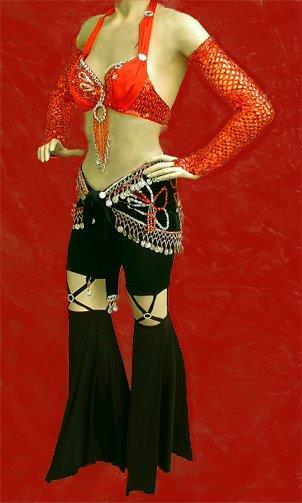 b211e0489d2336 Paillettenstretch-Kostüm HAREM une-seize: Trägertop + Hollywood-Rock + 2  Ärmel und dazu Perlen-Kopfputz + Flex-Halsband (gold-lila mit blau)